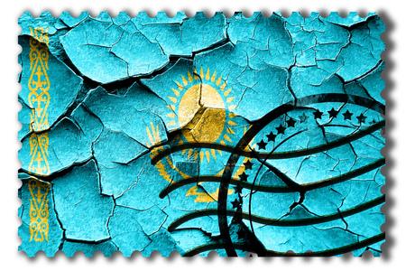 postal stamp: Postal stamp: Grunge Kazakhstan flag with some cracks and vintage look