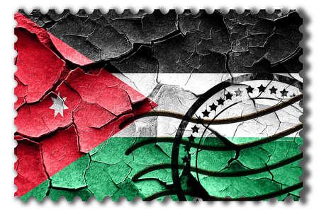 postal stamp: Postal stamp: Grunge Jordan flag with some cracks and vintage look