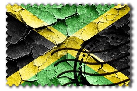 cracks: Postal stamp: Grunge Jamaica flag with some cracks and vintage look Stock Photo