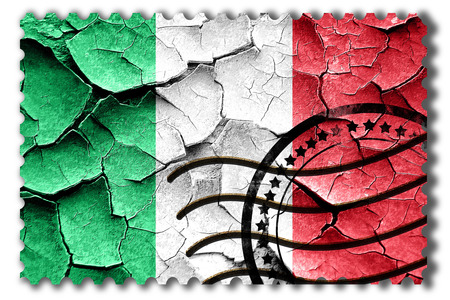 postal stamp: Postal stamp: Grunge Italy flag with some cracks and vintage look Stock Photo