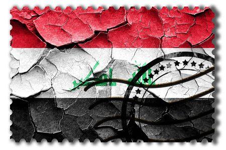 postal stamp: Postal stamp: Grunge Iraq flag with some cracks and vintage look