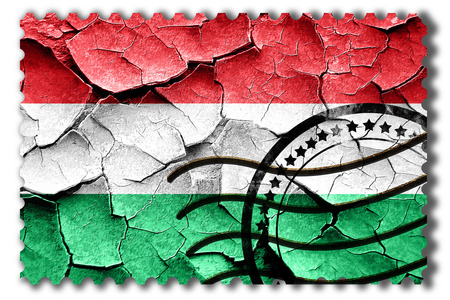 cracks: Postal stamp: Grunge Hungary flag with some cracks and vintage look Stock Photo