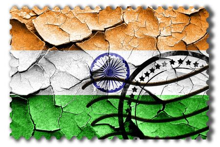 indian postal stamp: Postal stamp: Grunge India flag with some cracks and vintage look