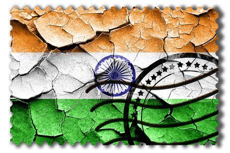 postal stamp: Postal stamp: Grunge India flag with some cracks and vintage look