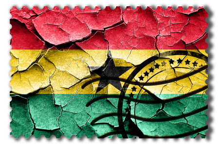 ghanese: Postal stamp: Grunge Ghana flag with some cracks and vintage look Stock Photo