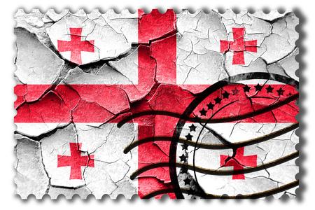 vintage look: Postal stamp: Grunge Georgia flag with some cracks and vintage look