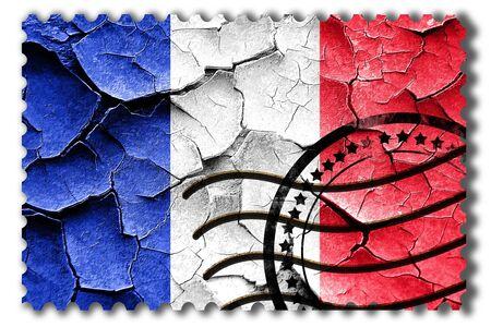 postal stamp: Postal stamp: Grunge France flag with some cracks and vintage look Stock Photo