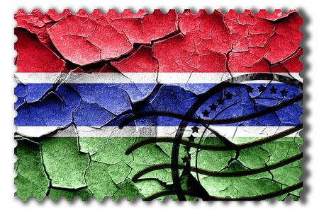 Postal stamp: Grunge Gambia flag with some cracks and vintage look Stock Photo