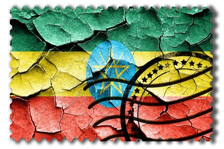 postal stamp: Postal stamp: Grunge Ethiopia flag with some cracks and vintage look Stock Photo