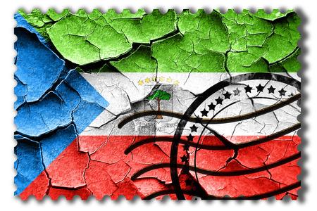 postal stamp: Postal stamp: Grunge Equatorial guinea flag with some cracks and vintage look