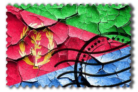 postal stamp: Postal stamp: Grunge Eritrea flag with some cracks and vintage look Stock Photo