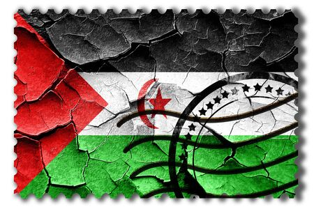 postal stamp: Postal stamp: Grunge Western sahara flag with some cracks and vintage look Stock Photo