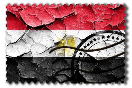 postal stamp: Postal stamp: Grunge Egypt flag with some cracks and vintage look