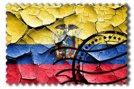 postal stamp: Postal stamp: Grunge Ecuador flag with some cracks and vintage look