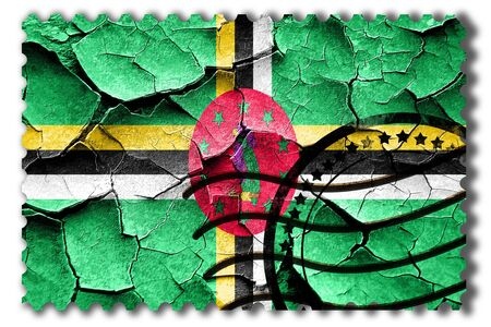 postal stamp: Postal stamp: Grunge Dominica flag with some cracks and vintage look Stock Photo