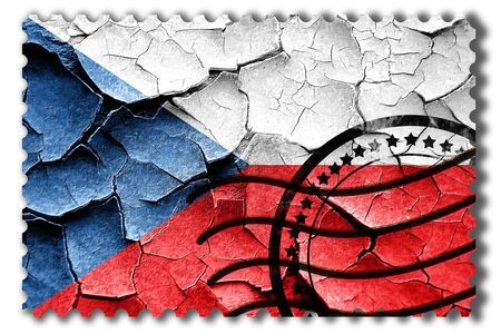 Postal stamp: Grunge Czech flag with some cracks and vintage look Stock Photo