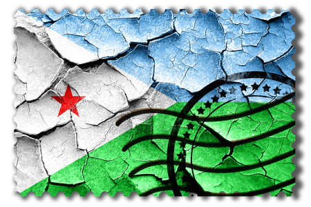 postal stamp: Postal stamp: Grunge Djibouti flag with some cracks and vintage look