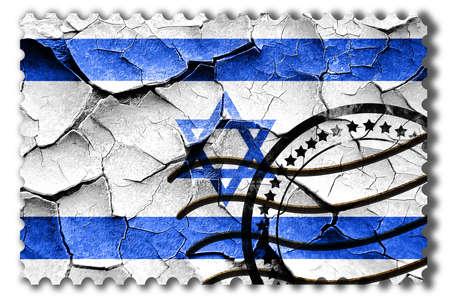 postal stamp: Postal stamp: Grunge israel  flag with some cracks and vintage look