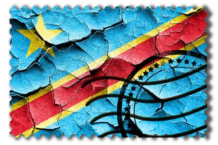 postal stamp: Postal stamp: Grunge Democratic republic of the congo flag with some cracks and vintage look Stock Photo