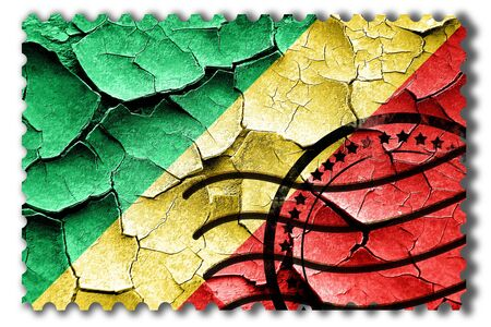 postal stamp: Postal stamp: Grunge Congo flag with some cracks and vintage look Stock Photo