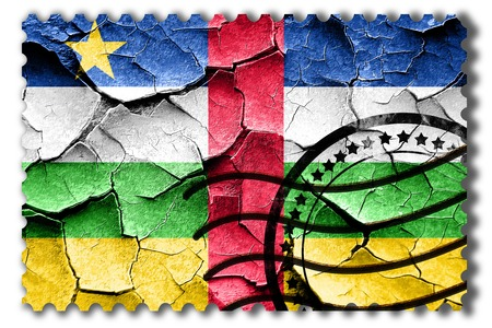 postal stamp: Postal stamp: Grunge Central african republic flag with some cracks and vintage look Stock Photo