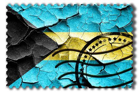 postal stamp: Postal stamp: Grunge Bahamas flag with some cracks and vintage look