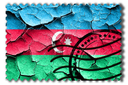 postal stamp: Postal stamp: Grunge Azerbaijan flag with some cracks and vintage look Stock Photo