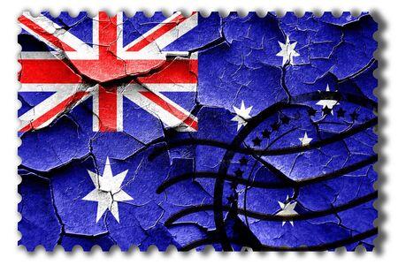 postal stamp: Postal stamp: Grunge Australia flag with some cracks and vintage look