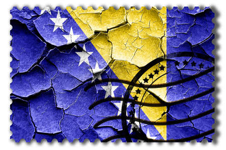 broken unity: Postal stamp: Grunge Bosnia and Herzegovina flag with some cracks and vintage look