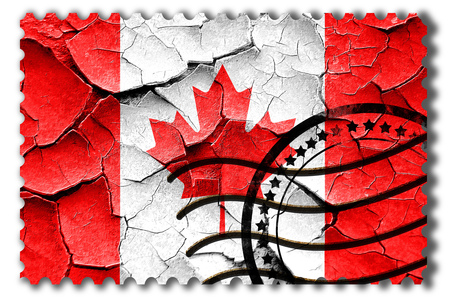 broken unity: Postal stamp: Grunge Canada flag with some cracks and vintage look