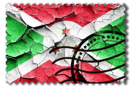 vintage look: Postal stamp: Grunge Burundi flag with some cracks and vintage look