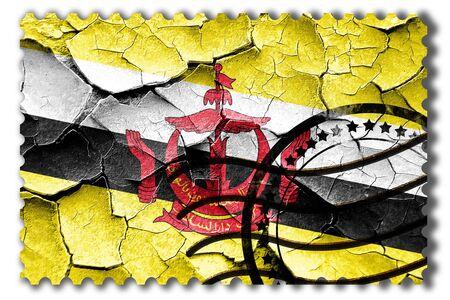 cracks: Postal stamp: Grunge Brunei flag with some cracks and vintage look Stock Photo