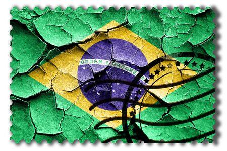 postal stamp: Postal stamp: Grunge Brasil flag with some cracks and vintage look