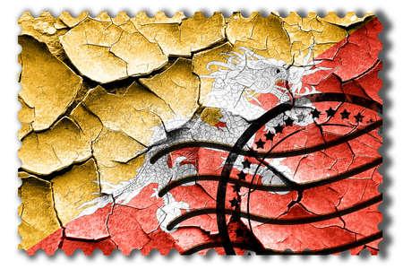 postal stamp: Postal stamp: Grunge Bhutan flag with some cracks and vintage look Stock Photo