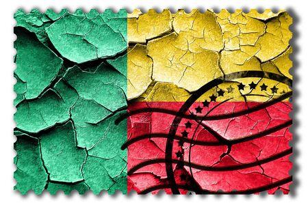 vintage look: Postal stamp: Grunge Benin flag with some cracks and vintage look