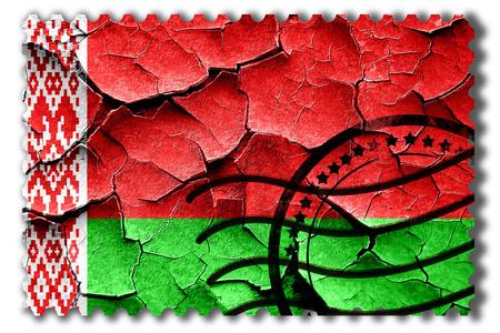 postal stamp: Postal stamp: Grunge Belarus flag with some cracks and vintage look