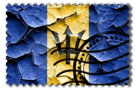 postal stamp: Postal stamp: Grunge Barbados flag with some cracks and vintage look Stock Photo