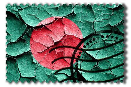 broken unity: Postal stamp: Grunge Bangladesh flag with some cracks and vintage look