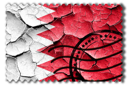 postal stamp: Postal stamp: Grunge Bahrain flag with some cracks and vintage look Stock Photo