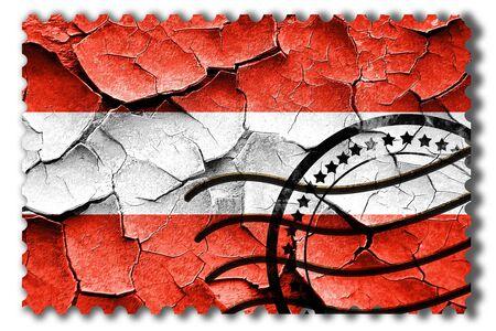postal stamp: Postal stamp: Grunge Austrian flag with some cracks and vintage look