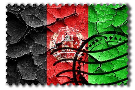 postal stamp: Postal stamp: Grunge Afghanistan flag with some cracks and vintage look Stock Photo