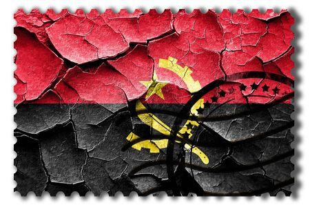 vintage look: Postal stamp: Grunge Angola flag with some cracks and vintage look