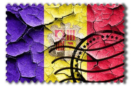 postal stamp: Postal stamp: Grunge Andorra flag with some cracks and vintage look Stock Photo