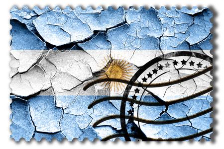 postal stamp: Postal stamp: Grunge Argentina flag with some cracks and vintage look