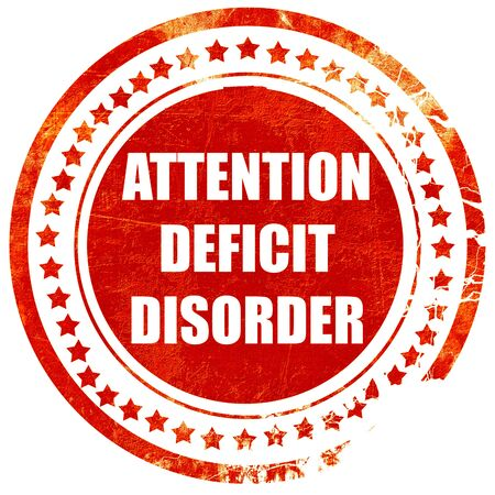 medical attention: Attention deficit disorder with some soft smooth lines, isolated red rubber stamp on a solid white background