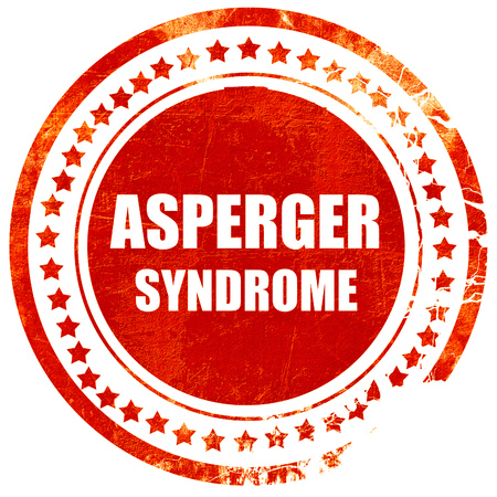 asperger syndrome: Asperger syndrome background with some soft smooth lines, isolated red rubber stamp on a solid white background