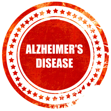 alzheimers: Alzheimers disease background with some soft flowing lines, isolated red rubber stamp on a solid white background