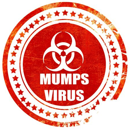 mumps: Mumps virus concept background with some soft smooth lines, isolated red rubber stamp on a solid white background