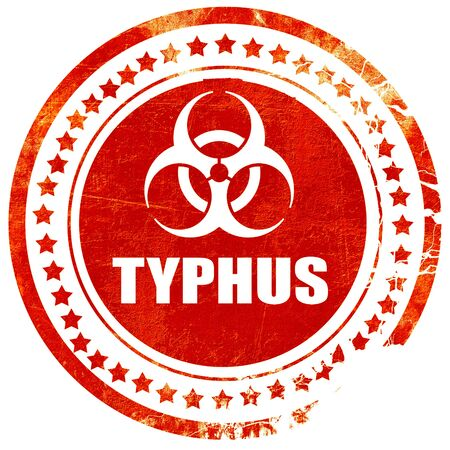 typhus: Typhus concept background with some soft smooth lines, isolated red rubber stamp on a solid white background
