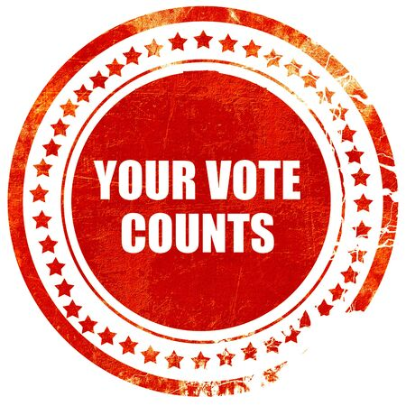 counts: your vote counts, isolated red rubber stamp on a solid white background
